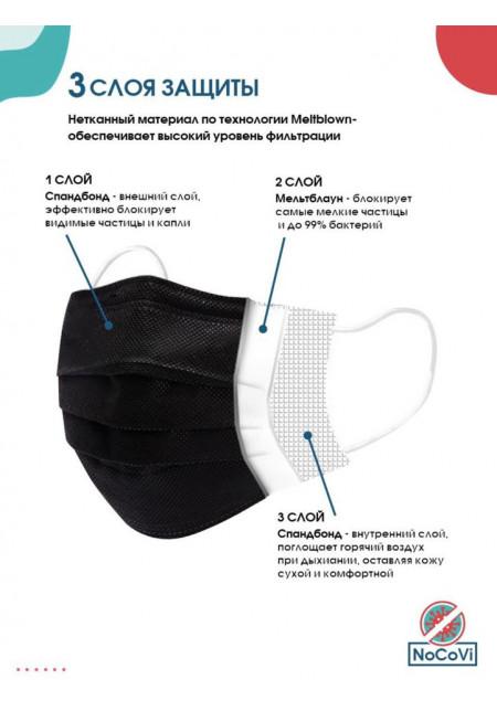 Трехслойная медицинская одноразовая маска, 50 шт